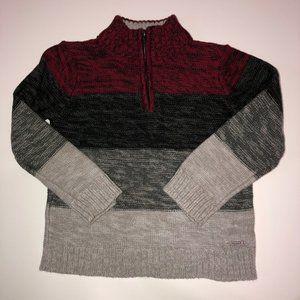 TAHARI BOY Striped Quarter Zip Sweater 4T